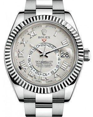 Rolex Sky-Dweller 326939 Men's 42mm Ivory Roman 18k White Gold Oyster - Luxury Time NYC INC