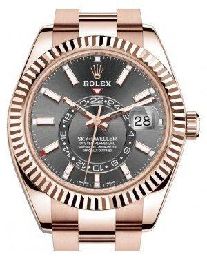 Rolex Sky-Dweller Rose Gold Dark Rhodium Index Dial Fluted Bezel Oyster Bracelet 326935 - Luxury Time NYC INC