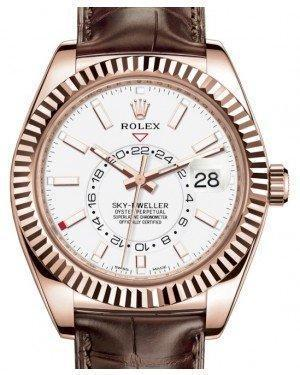 Rolex Sky-Dweller Rose Gold White Index Dial Fluted Bezel Leather Strap 326135 - Luxury Time NYC INC