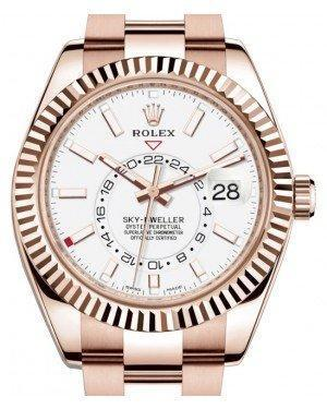 Rolex Sky-Dweller Rose Gold White Index Dial Fluted Bezel Oyster Bracelet 326935 - Luxury Time NYC INC