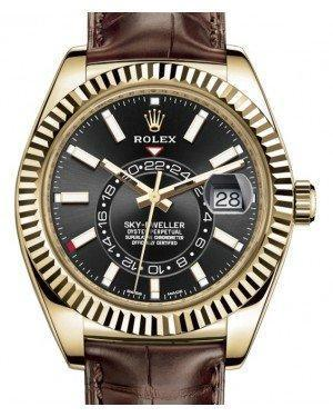 Rolex Sky-Dweller Yellow Gold Black Index Dial Fluted Bezel Leather Strap 326138 - Luxury Time NYC INC