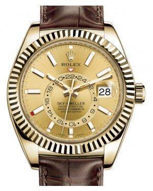 Rolex Sky-Dweller Yellow Gold Champagne Index Dial Fluted Bezel Leather Strap 326138 - Luxury Time NYC INC