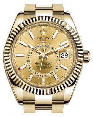 Rolex Sky-Dweller Yellow Gold Champagne Index Dial Fluted Bezel Oyster Bracelet 326938 - Luxury Time NYC INC