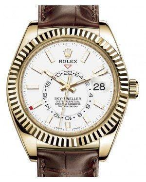 Rolex Sky-Dweller Yellow Gold White Index Dial Fluted Bezel Leather Strap 326138 - Luxury Time NYC INC
