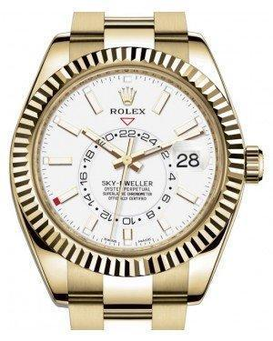 Rolex Sky-Dweller Yellow Gold White Index Dial Fluted Bezel Oyster Bracelet 326938 - Luxury Time NYC INC