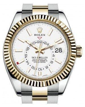 Rolex Sky-Dweller Yellow Gold/Steel White Index Dial Fluted Bezel Oyster Bracelet 326933 - Luxury Time NYC INC