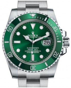 "Rolex Submariner Date ""Hulk"" Stainless Steel Green Dial & Ceramic Bezel Oyster Bracelet 116610LV - Luxury Time NYC INC"