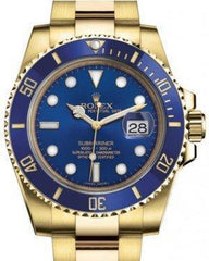 Rolex Submariner Date Yellow Gold Blue Dial & Ceramic Bezel Oyster Bracelet 116618LB - Luxury Time NYC INC