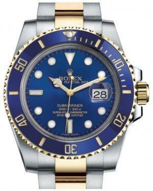 Rolex Submariner Date Yellow Gold/Steel Blue Dial & Ceramic Bezel Oyster Bracelet 116613LB - Luxury Time NYC INC
