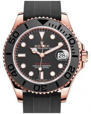 Rolex Yacht-Master 37 Rose Gold Black Dial Black Ceramic Bezel Rubber Oysterflex Strap 268655 - Luxury Time NYC INC