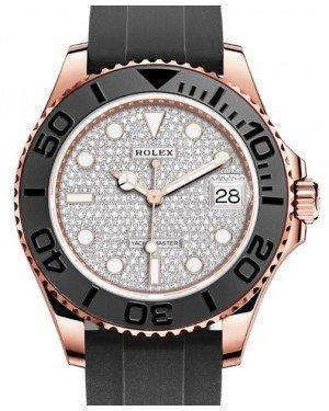 Rolex Yacht-Master 37 Rose Gold Diamond Pave Dial Black Ceramic Bezel Rubber Oysterflex Strap 268655 - Luxury Time NYC INC