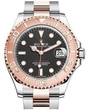 Rolex Yacht-Master 37 Rose Gold/Steel Black Dial Gold Bezel Oyster Bracelet 268621 - Luxury Time NYC INC