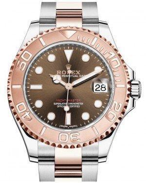 Rolex Yacht-Master 37 Rose Gold/Steel Chocolate Dial Gold Bezel Oyster Bracelet 268621 - Luxury Time NYC INC