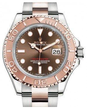 Rolex Yacht-Master 40 Everose Rose Gold/Steel Chocolate Brown Dial Gold Bezel Oyster Bracelet 116621 - Luxury Time NYC INC