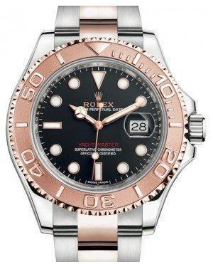 Rolex Yacht-Master 40 Rose Gold/Stainless Steel Black Dial Oyster Bracelet 116621 - Luxury Time NYC INC