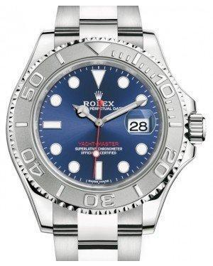 Rolex Yacht-Master 40 Stainless Steel Blue Dial Platinum Bezel Oyster Bracelet 116622 - Luxury Time NYC INC
