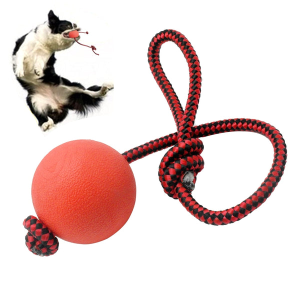 A Rubber, Chew Dog Ball With a Rope -a Playing  & Training Toy