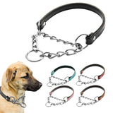 Unique Leather Training Dog Collar with a Metal Chain
