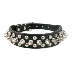 Beautiful Spiked Leather Dog Collar for Small & Medium Dogs