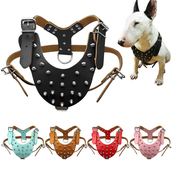 Leather Studded Spiked Dog Harness for Medium & Large Dogs