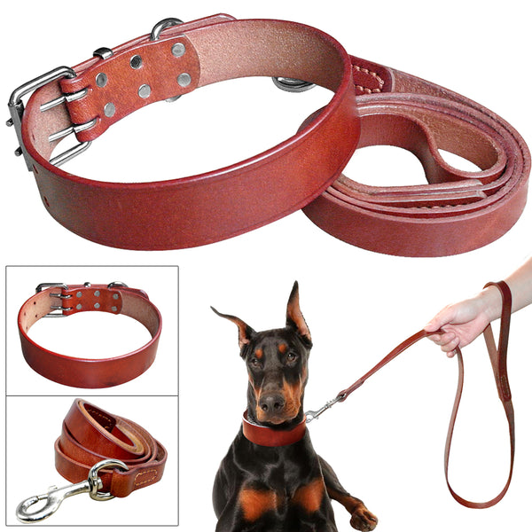 Luxury Soft Genuine Leather Dog Collar and Leash Set For Small, Medium & Large Dogs