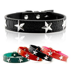 Leather Spike Dog Collar with Stars Studded  For Small Dogs