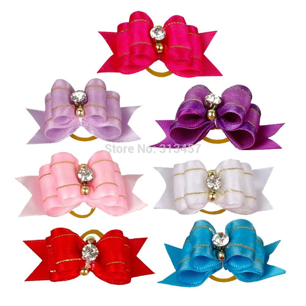 20/50/100 pcs of Beautiful Dog & Cat Hair Bows with a Rhinestone