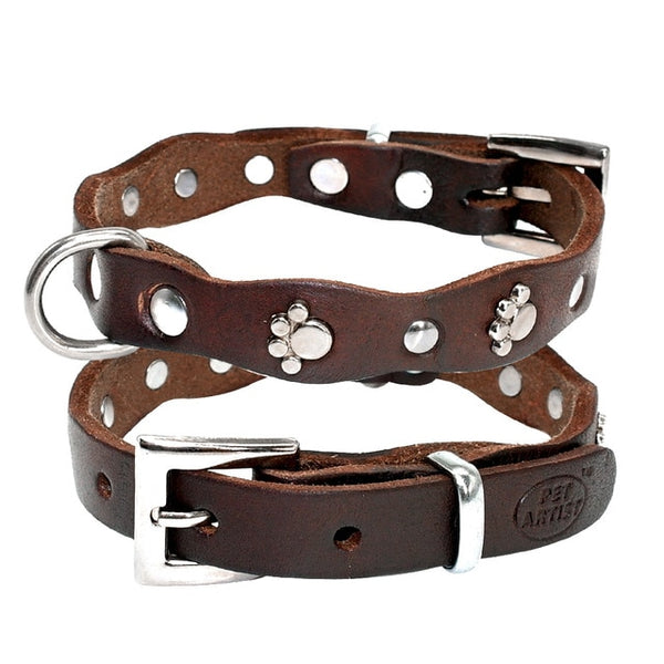 Genuine Leather Dog Collar For Small & Medium Dogs Such as a Pitbull, Etc.