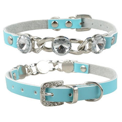 A Beautiful Leather Collar with a Diamond Necklace For Small Dogs & Cats