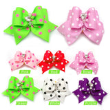 20/50/100 pcs of Designed Pet Hair Bows with Charming Diamond Gems