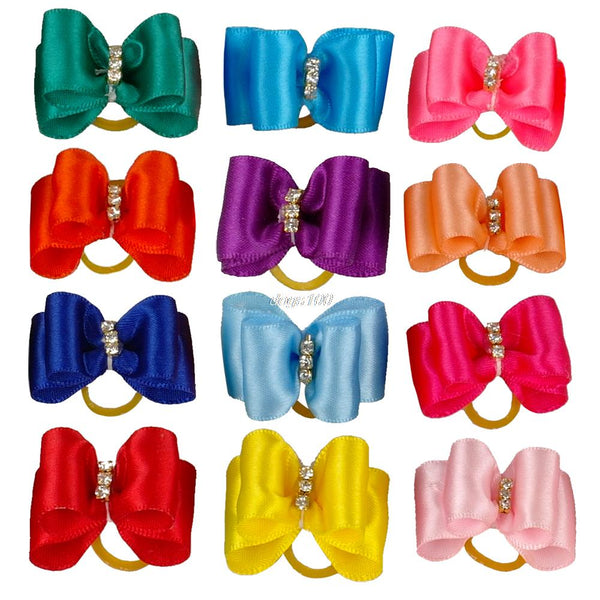 20/50/100pcs of Shinning Pet Hair Bows with Rhinestones for Dogs & Cats