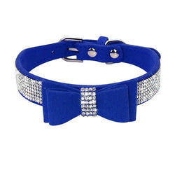 Leather Dog Collar with Sparkly Crystal and Suede Rhinestone , Desined with a Bow Tie for Small Dogs & Cats