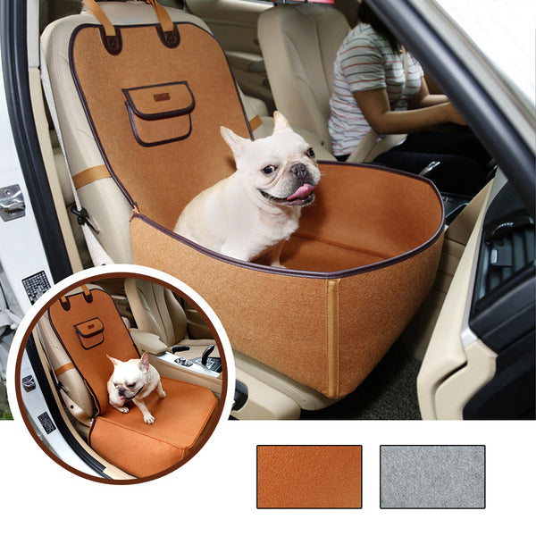 A Beautiful Dog Car Seat, Built for Safety and Connects to the Backrest
