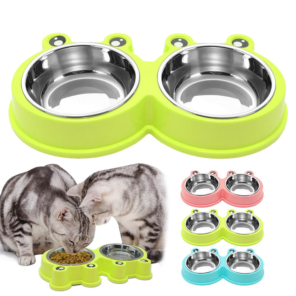 A Popular Double Stainless Steel Cat or Dog Bowl, Prevents Sliding, for Small to Medium Dogs or Cats