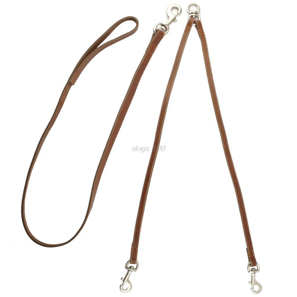 High Quality Double Leather Dog Leash Set for 2 Dogs, for Medium & Large Breeds