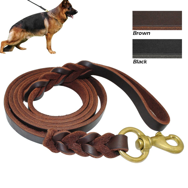 Long, Genuine Leather Dog Leash for Medium & Large Dogs