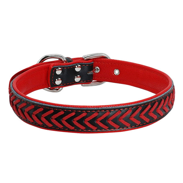 Durable Leather Dog Collar Padded and Braided For Medium & Large Dogs