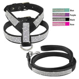 A Leather Dog Harness and Leash Set with Rhinestones For Small & Medium Dogs