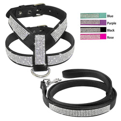 A Beautifully Designed Leather Dog Harness with Rhinestones Suitable for Medium and Small Dogs