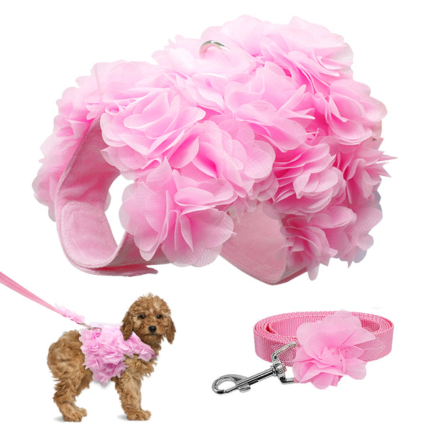A Beautiful Pink Dog Harness & Leash Set with a Flower for Small Dogs