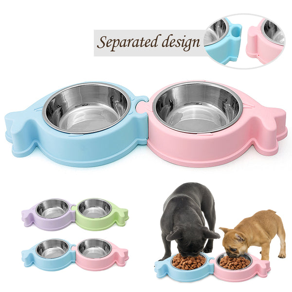 A Quality Set of Two Stainless Steel Pet Bowls that Can be Connected or Separated