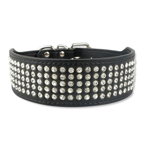 Real Leather Dog Collar Desined with Rhinestones, Sparkly Crystal Diamonds for Medium & Large Dogs, 2-Inch Wide