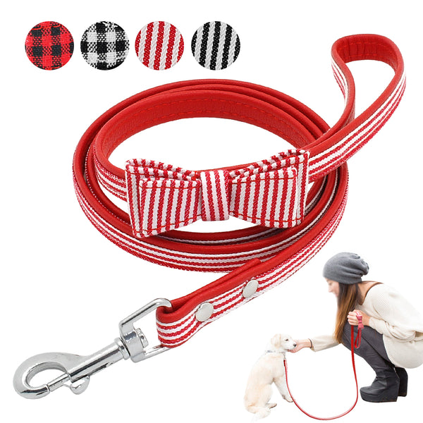 Designed Leather Dog Leash with Bow Tie For Small & Medium Dogs