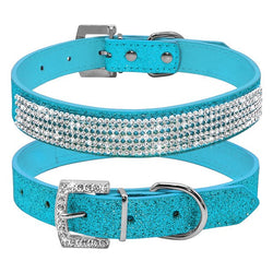 Leather Collar with Rhinestone Adjustable for Cats and Small & Medium Dogs