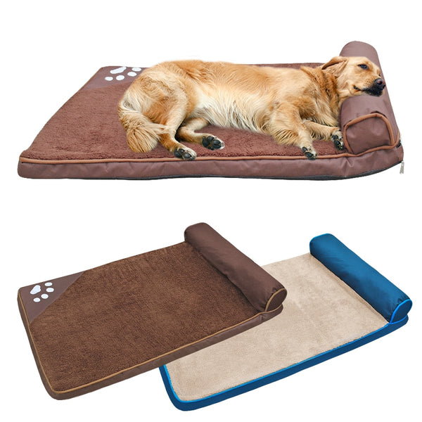 A Wonderful Large, Thick, Padded Dog Bed with a Pillow for Large & Medium Dogs