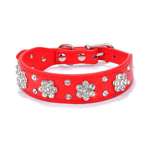 Leather Dog Collar, Rhinestone and Crystal Studded for Small & Medium Dogs