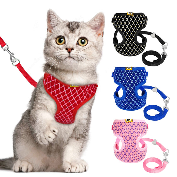 A Beautiful Pet Harnesses Vest & Leash Set with Rhinestones, For Cats & Small Dogs