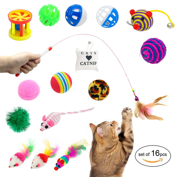 16 pcs of Fun, Cat Toys Including, a Feather