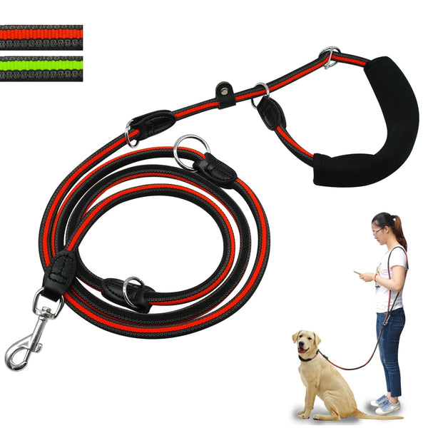 Multi Function Double Dog Leashes with Soft Handle For One or Two Dogs