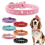 Leather Collar with Crystals, Designed for Cats & Small Dogs